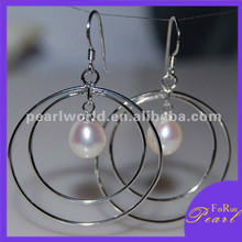 very big round hook 925 silver pearl earrings eardrop