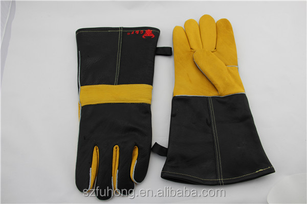 welding glove, red shoulder split, full sock lined leather welding gloves EN388