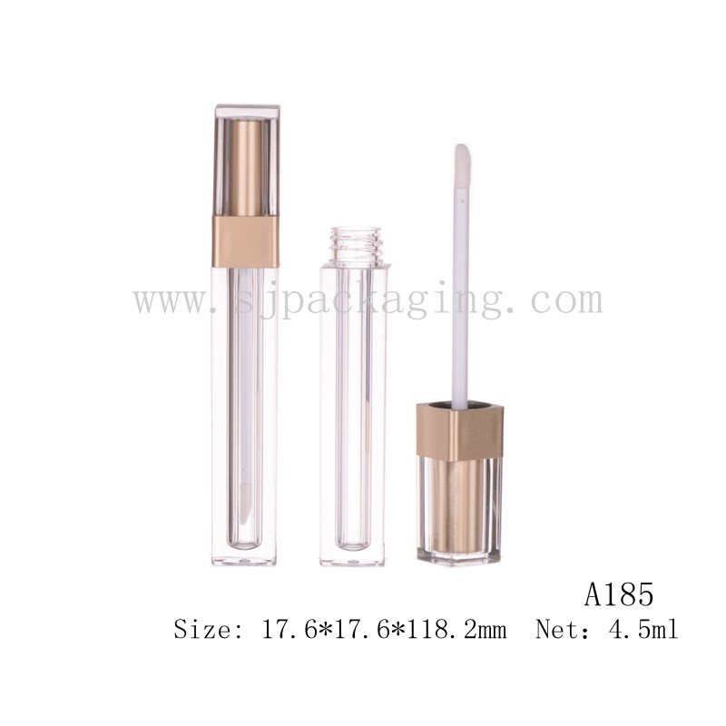 4.5ml custom lip gloss containers square bottle matte lip gloss gold cap luxury cosmetic packaging