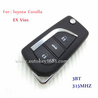 MS flip car key 3 button remote control key 315mhz for toyota corolla ex vios with uncut key blade