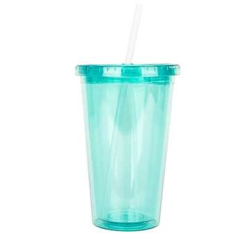 Colorful 500ml Custom LOGO Clear Plastic Drink Cup With Straw