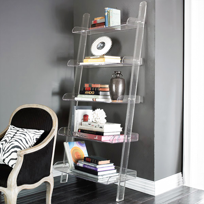 Lucite Acrylic Corner Shelf 5 Tiers Transparent Magazine assemble Bookcase