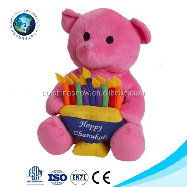 Cheap custom soft plush stuffed happy birthday pink teddy bear pictures