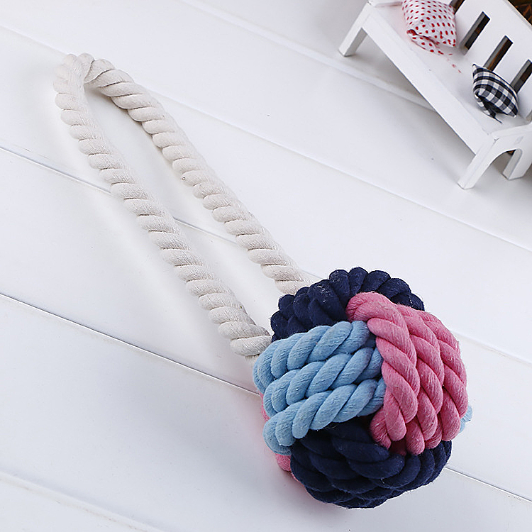 Hot selling Pet Supplies two size colorful cotton ball rope Christmas Gift chew pet toys for dog Vet Toy