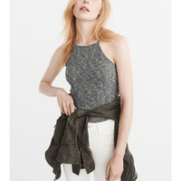 Cropped high neck tank top with comfort and subtle soft sweater knit fabric