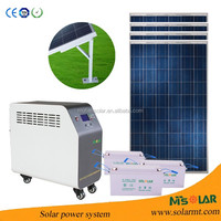 2KW complete solar home energy system with MPPT solar charger inverter lithium battery pack backup home