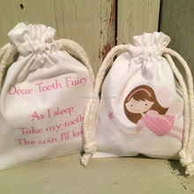 Double drawstring pink cotton tooth fairy kit with bag