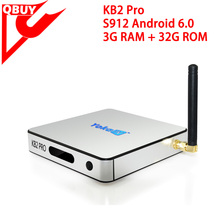 hot sales TV player KB2 PRO ANDROID TV BOX 3GB RAM 32GB ROM AMLOGIC S912 OCTA CORE 2.4G/5GHZ DUAL WIFI 1000M LAN SMART TV BOX