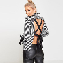 L2752A Hot Sexy Stripe Long Sleeve Backless women loose blouses