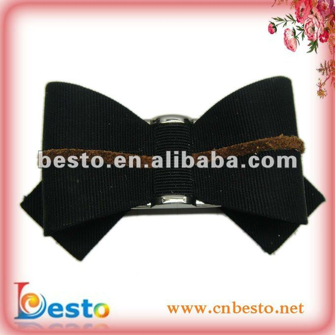 Handmade high heel bows shoe flower made of black ribbon for fashion sandal decorations SF0255B