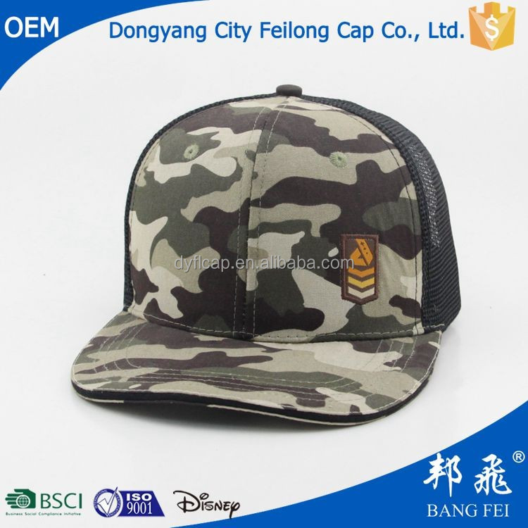 Custom snapback army hat mesh back flat bill military hunting cap