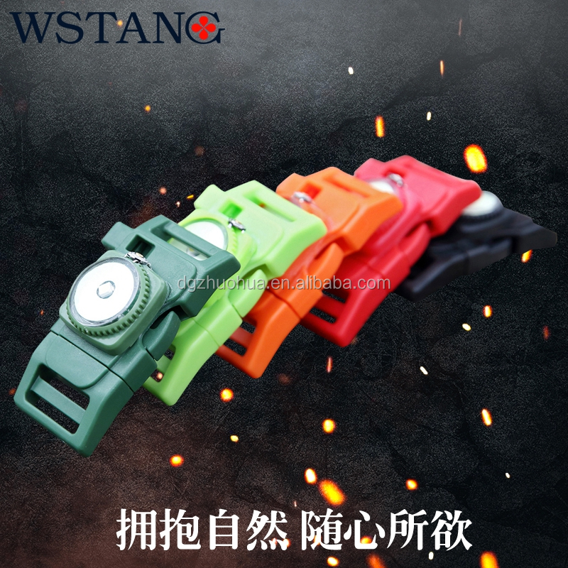 3/4 side release buckle with fire starter,whistle buckle for paracord bracelet,fire starter buckle with LED light