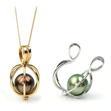 Popular 925 Silver Freshwater Pearl Cage Pendant With Gold Plated