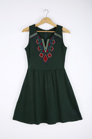 Front Embroidered Sleeveless Baggy Girls Dress