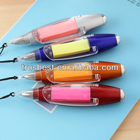 Korean stationery polar ball pen with led lanyard and paper note