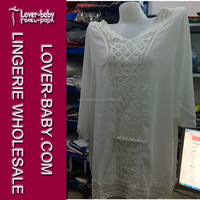 Boho Blouse Tunic White Beachwear Resort Wear Kaftan Beach Caftan Ladies Swimsuit Swim Cover Up Dress L38288