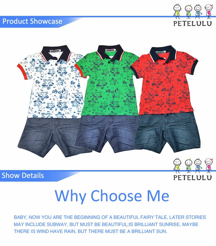 Petelulu factory price t shirt polo customized logo for boy polo t-shirt sets