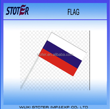 Euro cup 2016 silk printing Russia Small Mini Country Stick Flag Banner with 10 Inch Plastic Pole