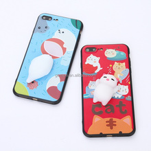 3D Cat Nail Pinch Relieve Stress Hand Squeeze Soft Silicone Squishy Phone Case for iPhone 6/6Plus/7/7Plus Phone Accessories