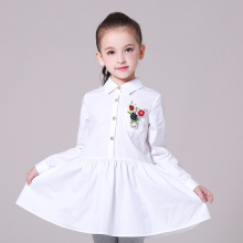 New model girl dress girl party wear western dress solid color turndown collar kids dress