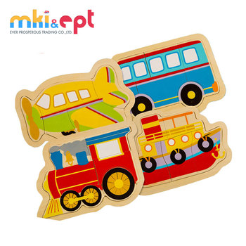 Cartoon puzzle car traffic 3D wholesale wooden puzzle toy for sale