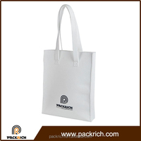 China Suppliers plain white custom logo long strap blank canvas tote bag