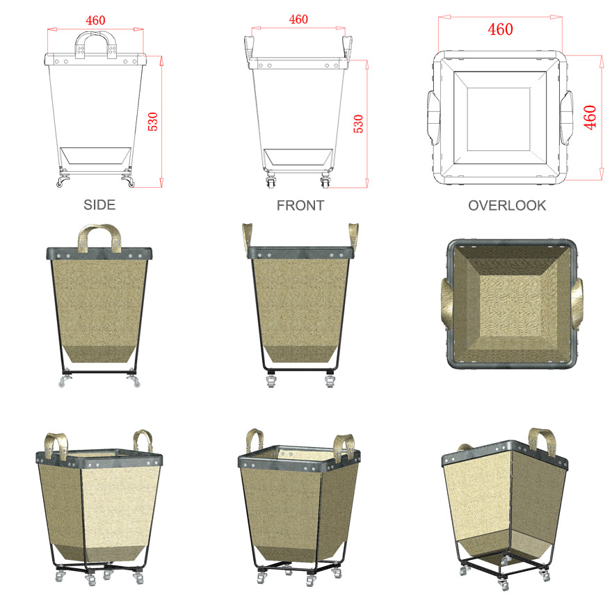 Commercial and home cotton canvas dirty laundry basket with wheels