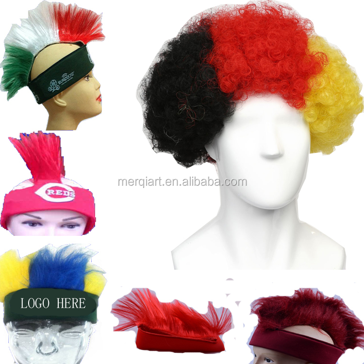 Factory direct sell crazy football wig football fan wig supporter headband wig