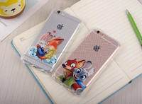 Plastic Printed Clear TPU Phone Case for iphone6 Zootopia Printed Soft TPU Mobile Phone Cover Case for iphone6 6s