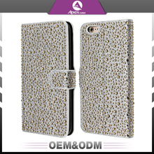 Cell phone cover bling bling diamonds flip cover with holder phone case for iphone 6s plus leather case