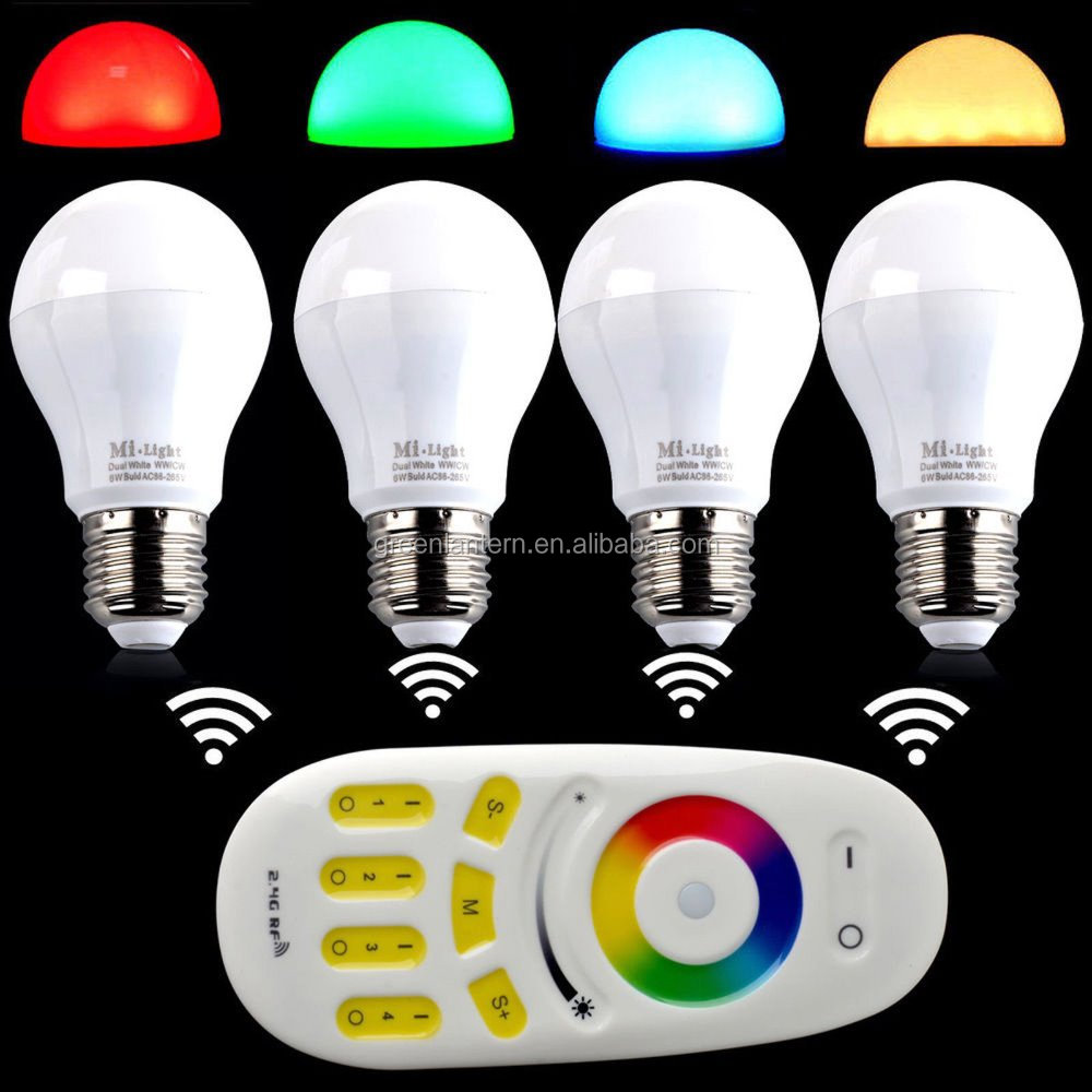 Hot sale 2.4G MiLight E27 6W RGBWW RGBW RGB + Warm White LED Light Dimmable Bulb