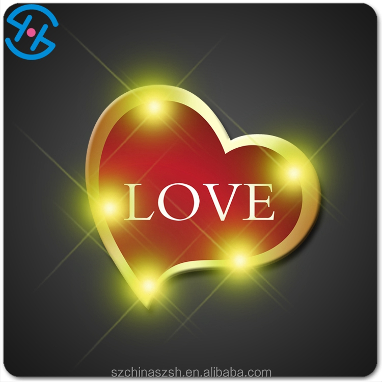 Hot sale Heart shape LED light badge pins for party night supply