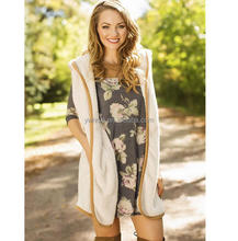 2017 Eaby Hot sale Women Warm Hooded Cardigan Vest