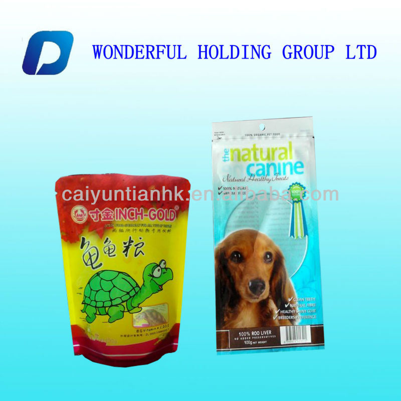 plastic pet food packaging bag in stand up form with zip lock