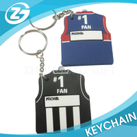 Football Suit Car Shaped Customized Cartoon Rubber Keychain Soft Pvc Key Chain