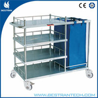 China BT-SLT007 hospital stainless steel dirty clothes clean linen trolley/hamper cart with bag/shelves/wheels