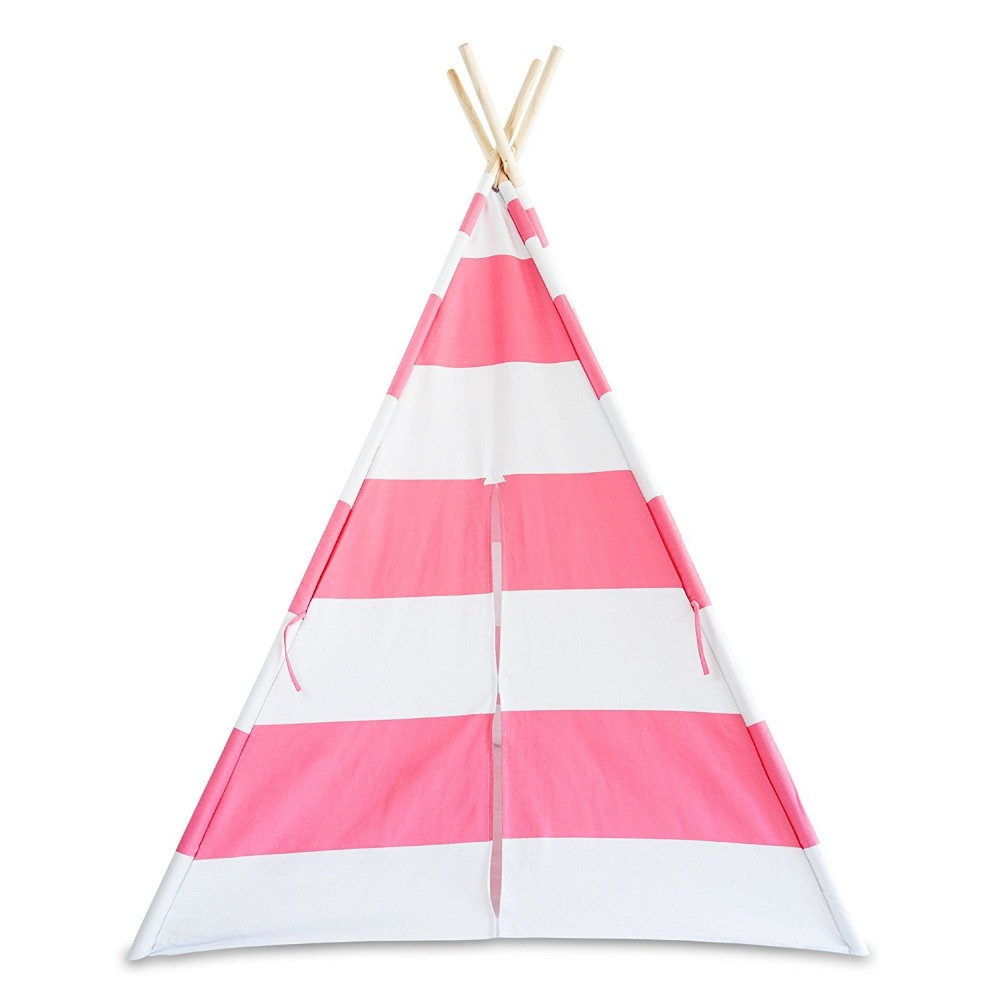 Deluxe Pink Canvas Teepee Tent with Window, Tiebacks, and Carry Case