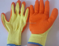 Large Latex-coated palm with seamless liner grip gloves orange/yellow large