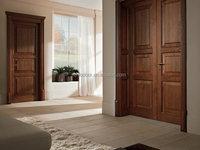Uniqdoor villa standard 3 panel wood door with decorative door head