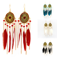 New 2016 Latest Gold Earring Designs Long Red Feather Chain Drop Earrings FE0003-C