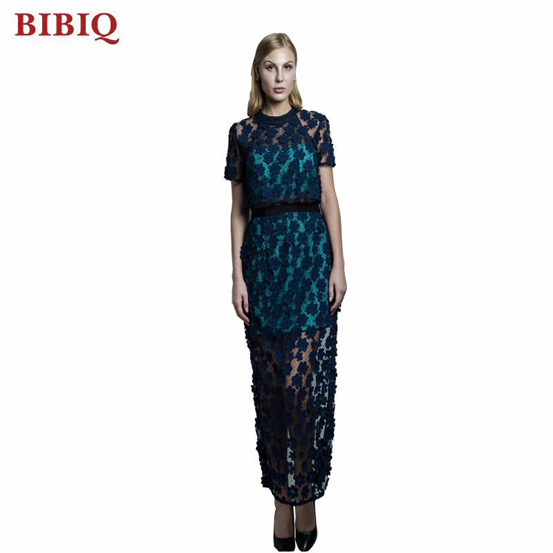 Full Flower Lace Elegent Dress Pattern Short Sleeves Floor Long Trendy Party Dresses Sexy Evening