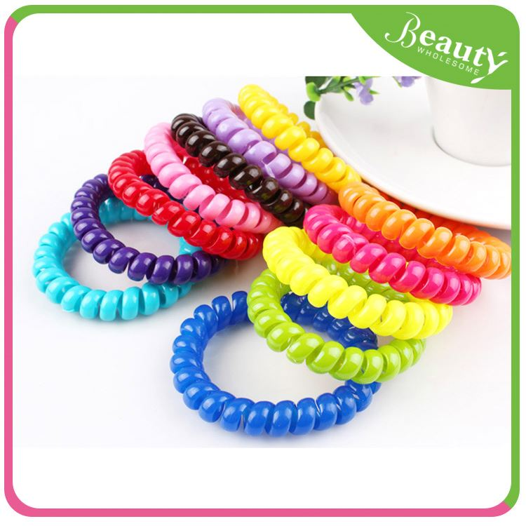 candy color telephone wire hair ties ,H0T033 decorative fruit hair tie , latex free hair elastics
