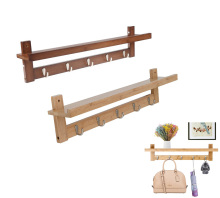 Bamboo Wall Mounted Storage Organizer Rack Shelf with Coat Hook