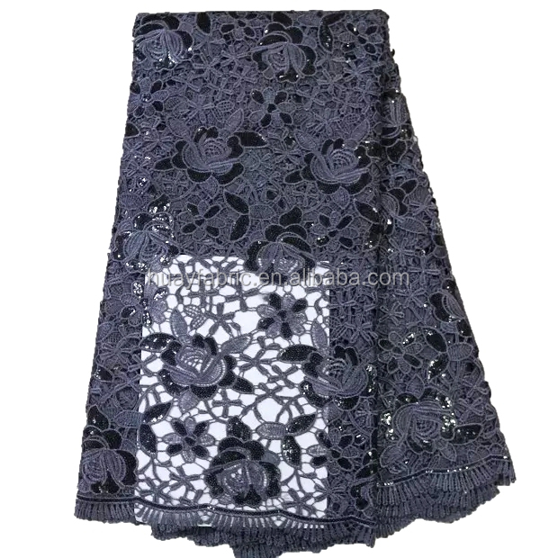 2016 new designs grey color african lace fabrics guipure sequence cord lace HY0307-1