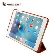 Jisoncase New design Stand genuine Leather Case for iPad Mini 4 for iPad Mini4 leather case cover