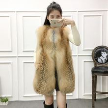 2017 hot selling sexy ladies winter real fox fur vest coat with high quality