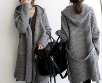 ladies extra long cardigan thick knitted sweater cardigan for women
