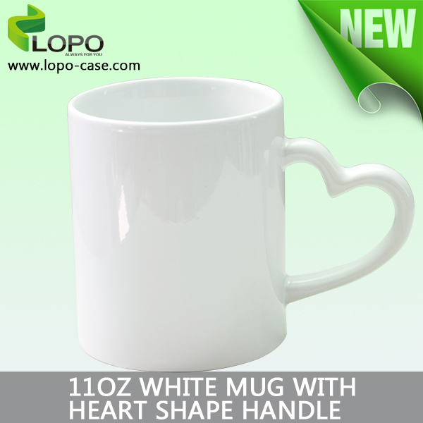 High quality DIY Sublimation blanks 11oz Heart Shape Handled White Mug