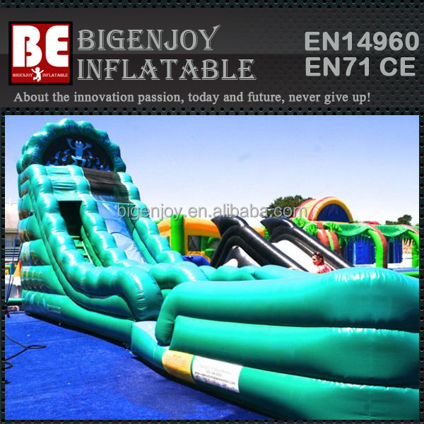 green wave water slide inflatable with pool