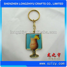 Custom decorative fruit cup christmas key holder commemorative keychain souvenir key ring for promotion gift